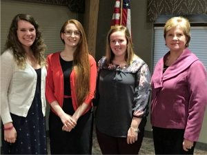 From left to righ: Rebecca Clifton, YCP, Education, 2016; Victoria Romano, YCP Biology/Chemistry, 2016; Chelsey Cochran, YCP, Education 2015. Martha Fleischer, Committee Chair.