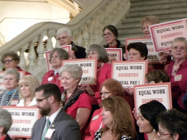 York Branch members Sue Zitnick and Betty Hooker lobby with PA AAUW on Equal Pay Day